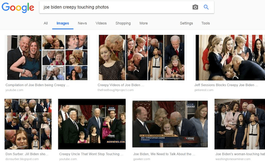 Google search results of Joe Biden being creepy