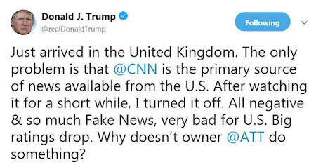 Trump tweet UK flight