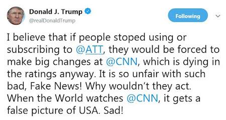 Trump tweet ATT