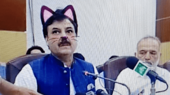 Pakistani politician with Snapchat cat filter