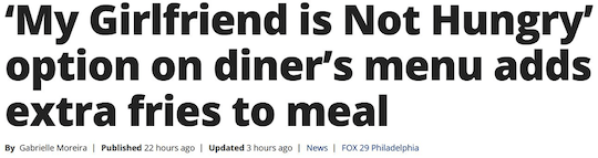 'My Girlfriend is Not Hungry' option on diner's menu adds extra friest to meal