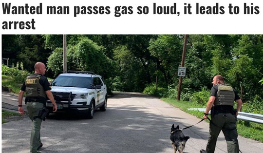 Wanted man passes gas so loud, it leads to his arrest