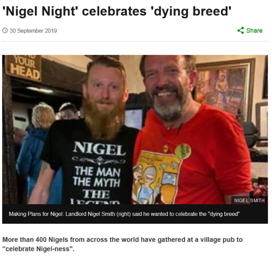 More than 400 Nigels from across the world have gathered at a village pub to 'celebrate Nigel-ness'