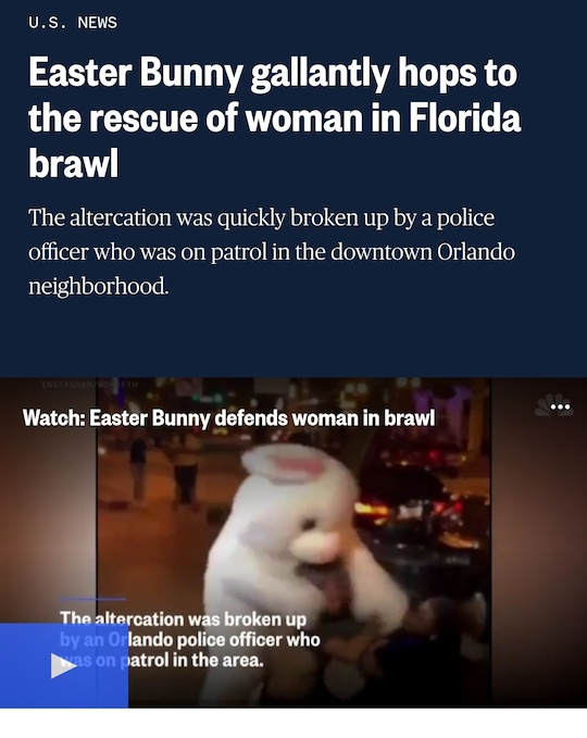 Easter Bunny gallantly hops to the resue of woman in Florida brawl