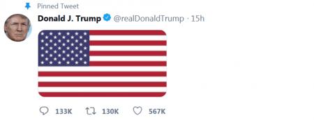 Trump tweeting an American flag