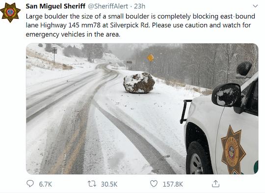 image of boulder on a road