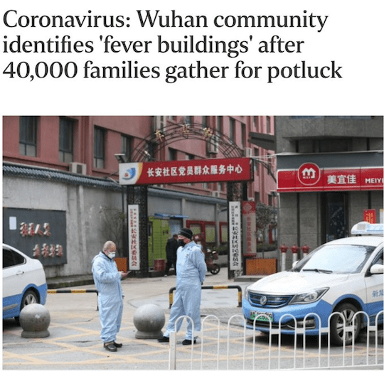 Coronavirus: Wuhan community identifies 'fever buildings' after 40,000 families gather for potluck