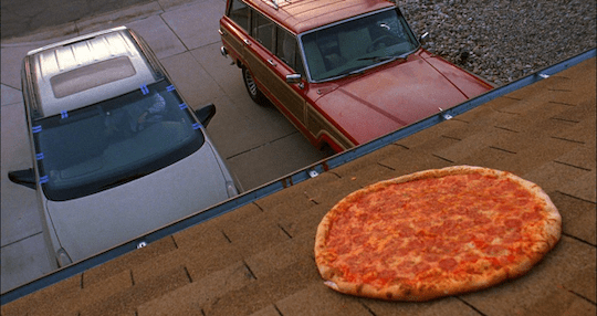 Pizza on a roof