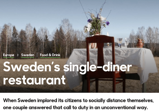 Sweden's single-diner restaurant