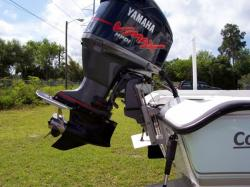 Jack plates and trim tabs on a bass boat