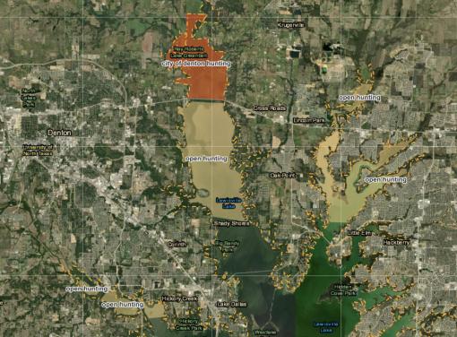 Lake Lewisville Hunting Map