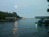 Full moon over Caddo Cove & a full lake