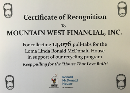 Ronald McDonald House Pull Tabs Program