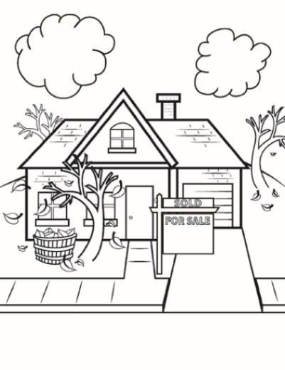 Kids Coloring Book Page For Fall