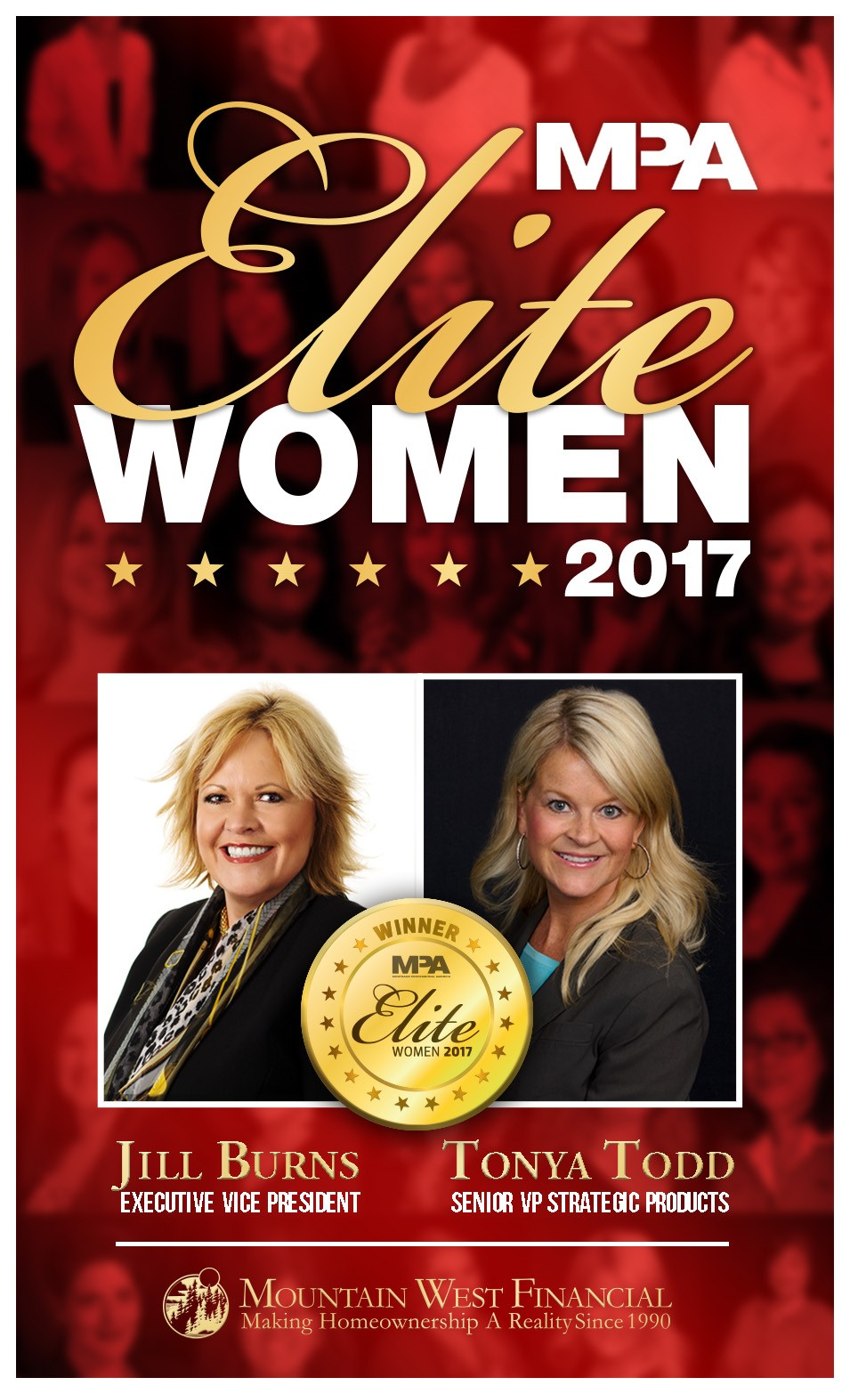 Mountain West Financial's Jill Burns and Tonya Todd Awarded as Elite Women for 2017 by Mortgage Professional America