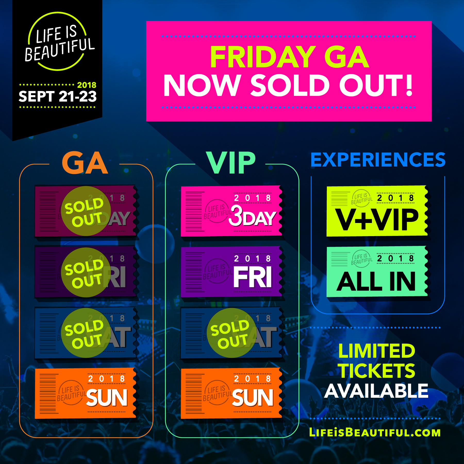 Tickets 2018 Life Is Beautiful Music Art Festival