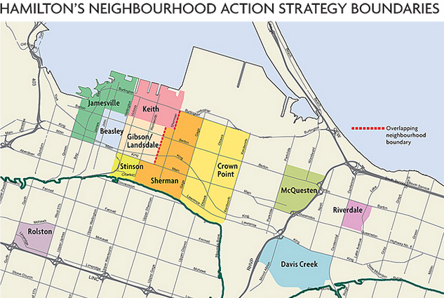 Hamilton's neighbourhood action strategy boundaries map