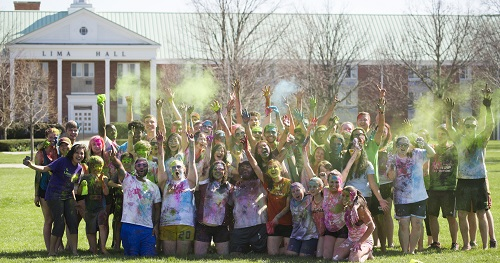 Students Celebrating Holi