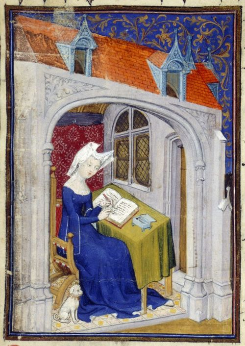 illuminated manuscript image of a woman writing