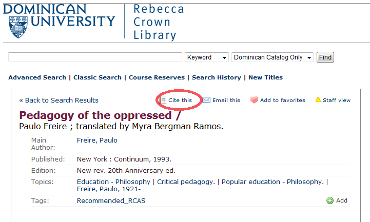 Rebecca crown library catalog citations citation styles research a citation feature that will cite the book in apa or mlastyle as stated in the example the citations may not be correct please review and adjust the ccuart Choice Image