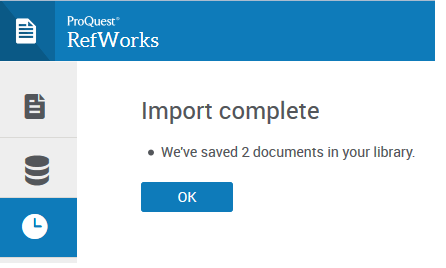 """Import complete"" window in RefWorks."