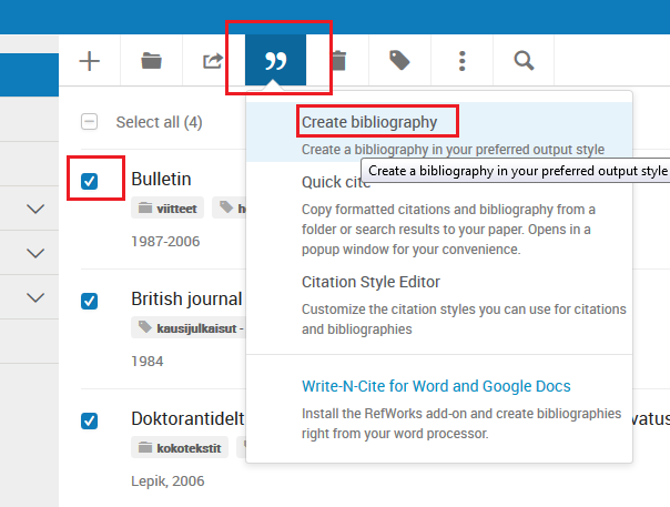 Bibliography menu in RefWorks.