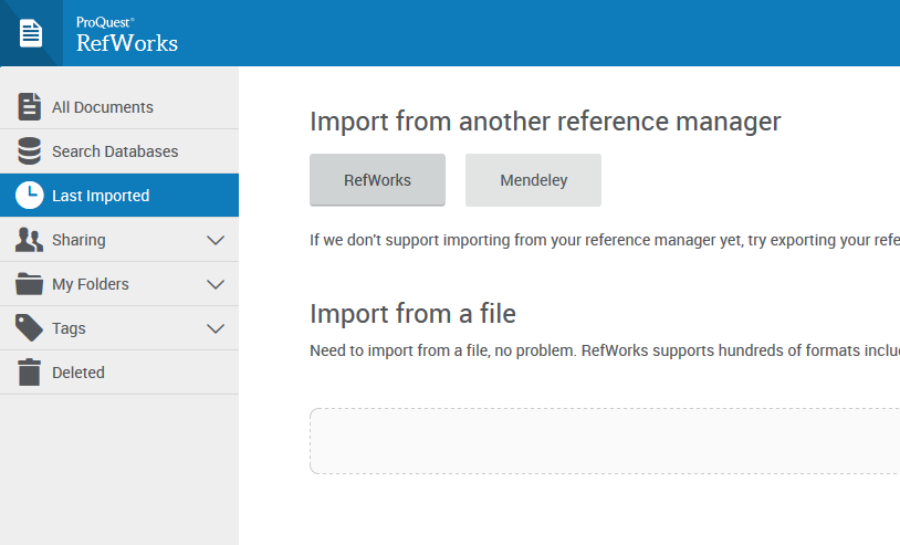 """Import from another reference manager"" options."