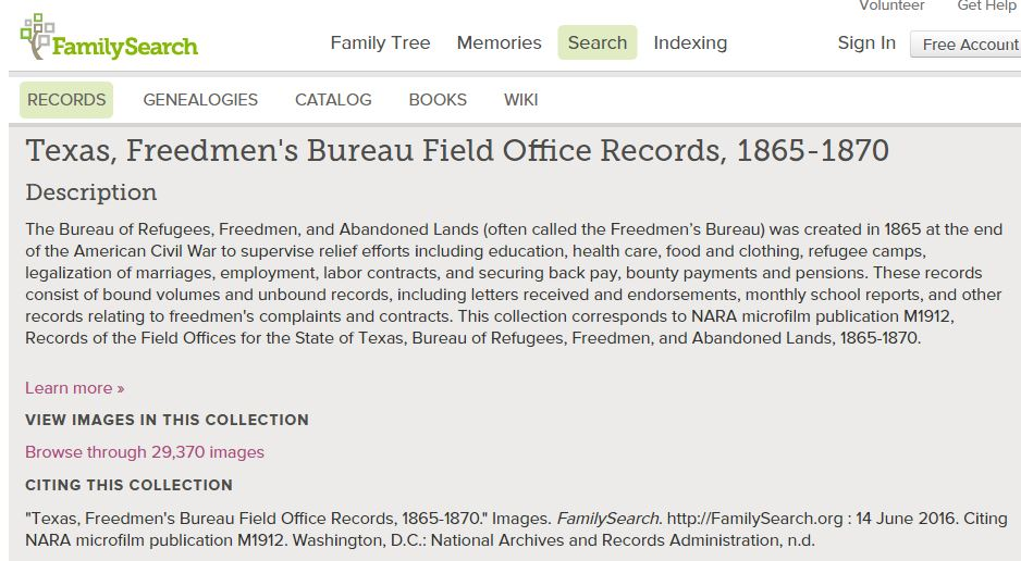 Homepage of the TX Freedmen's Bureau Records