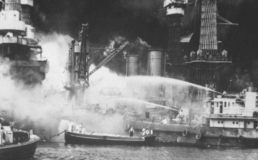 The USS West Virginia burns in Pearl Harbor (Credoreference)