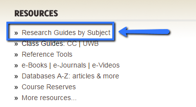 Image of Resources list with text Research Guides by Subject highlighted with an arrow and a box around text