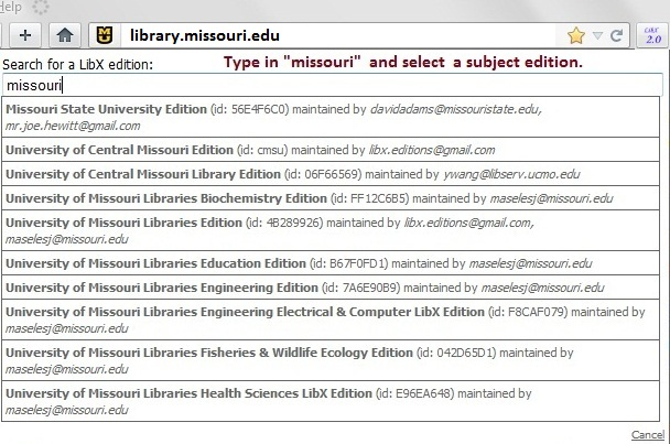 Search for a LibX edition -- Type in missouri and select a subject edition