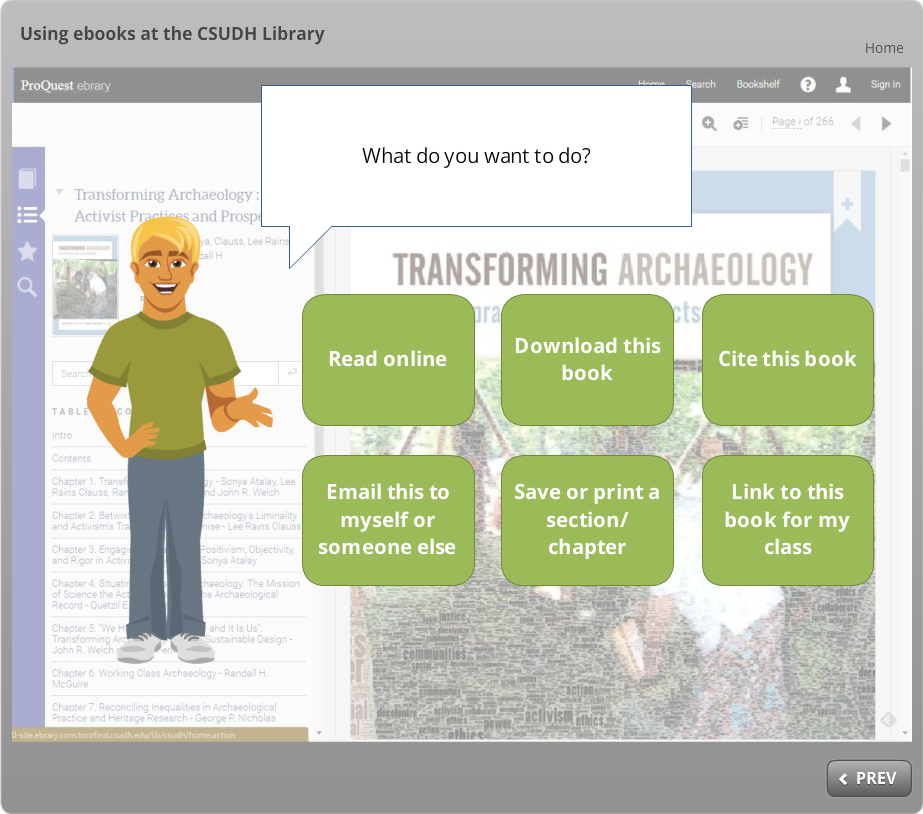icon, Using ebooks at the CSUDH Library