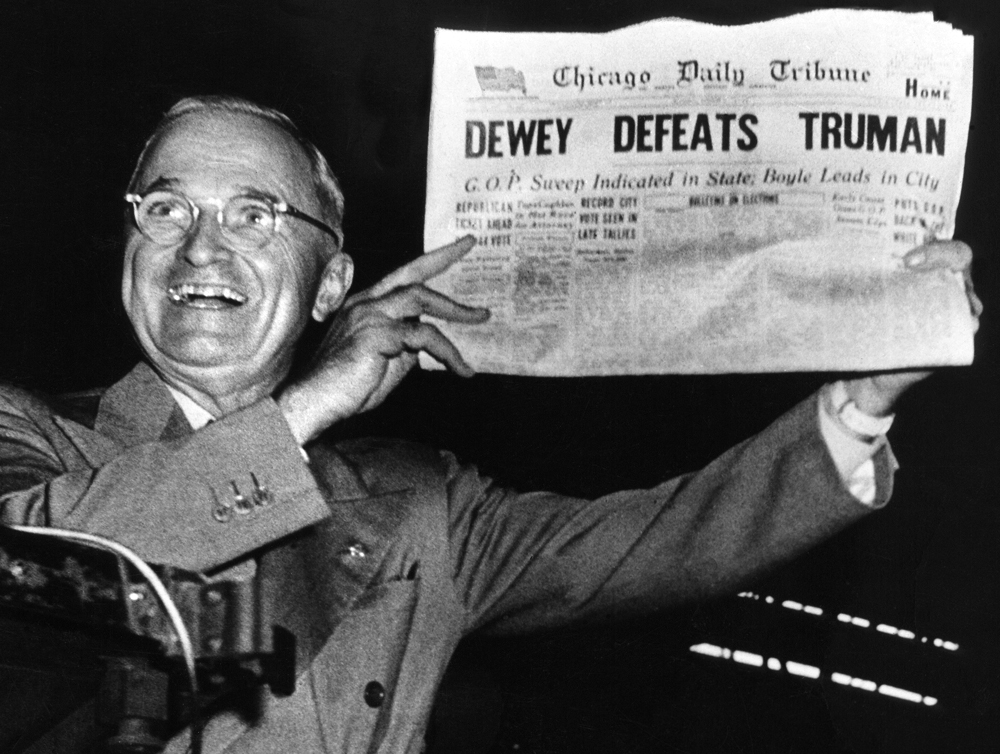 """Dewey Defeats Truman."" Photograph. November 4, 1948. United Press International."
