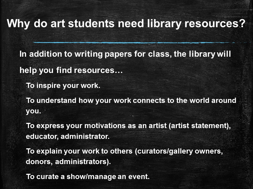 Why Do Art Students Need Library Resources?