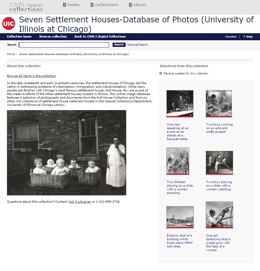 Seven Settlement Houses Database of Photographs