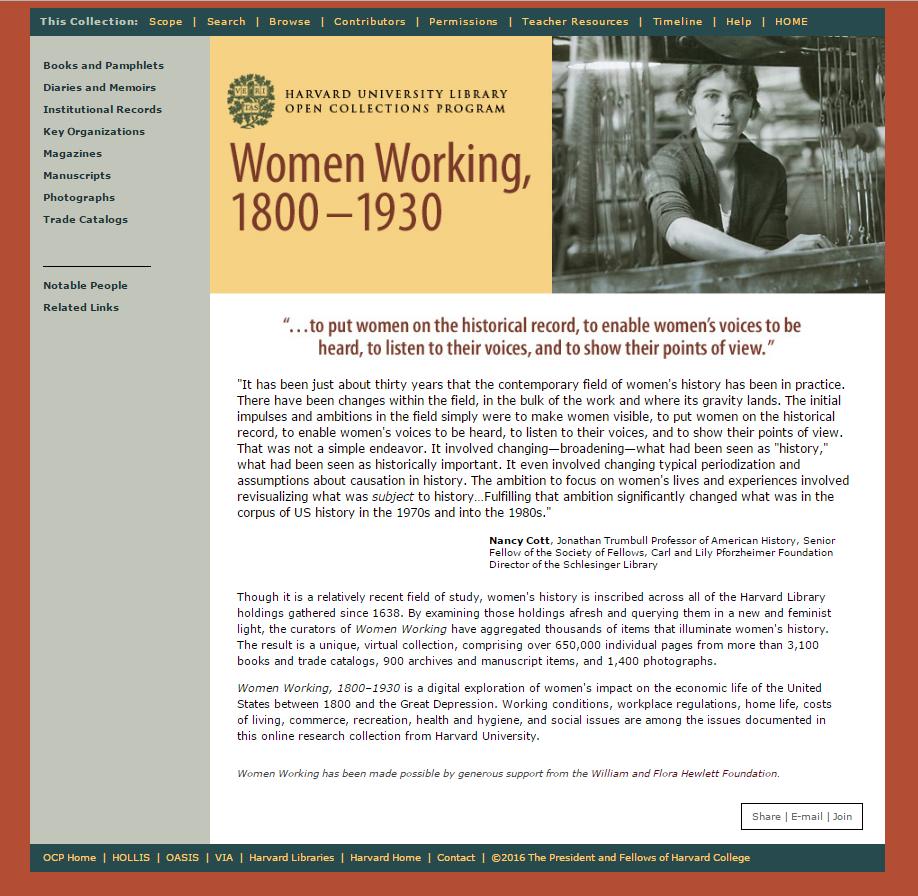 Women Working, 1800-1930