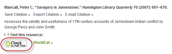 Check for Full Text button in Oxford Bibliography citation