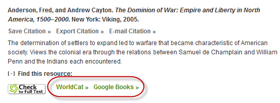 WorldCat and Google Books links in Oxford Bibliography citation