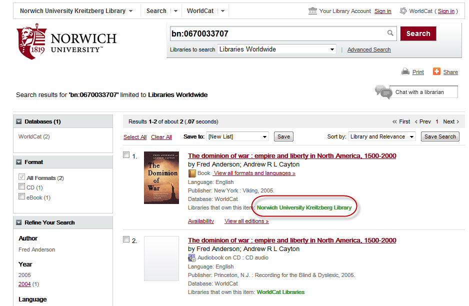 Catalog search results for a book owned by Norwich