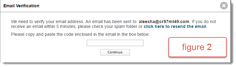 figure 2: screenshot of email verification pop up