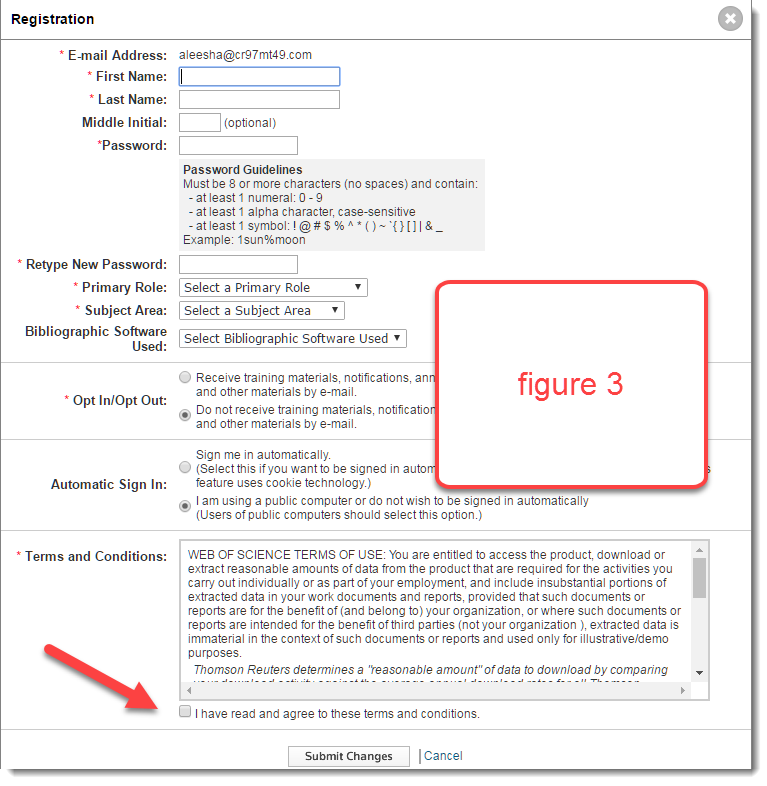 figure 3 : screenshot of registration form in endnote online.