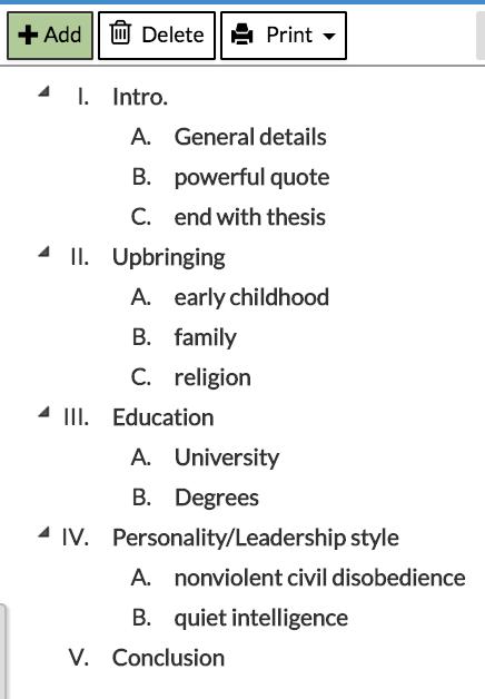 mla 8 outline format