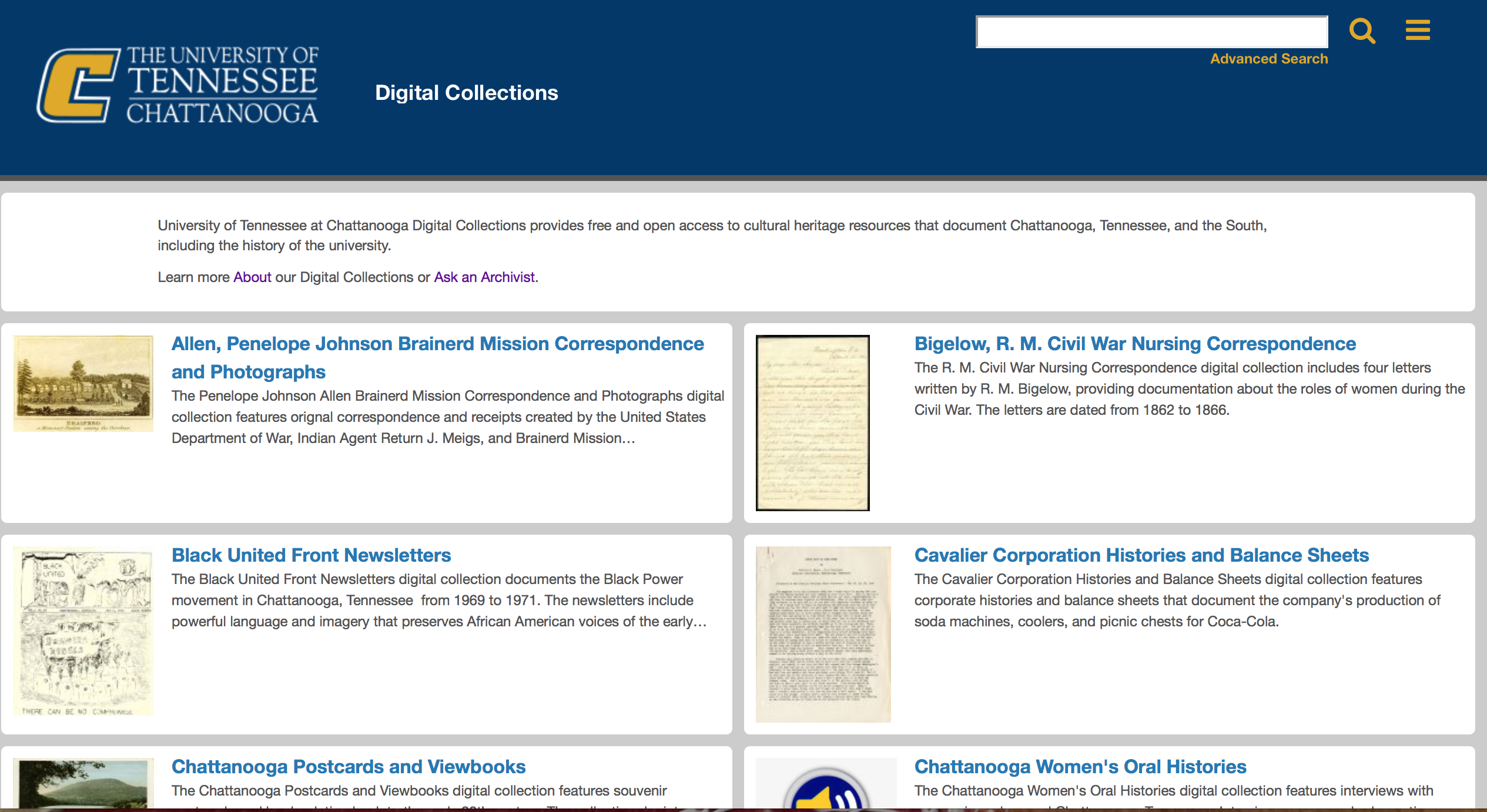 UTC Digital Collections Homepage