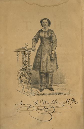 Print of Mary Edwards Walker from interior flyleaf of Hit: Essays on Women's Rights. American News, New York: 1871.