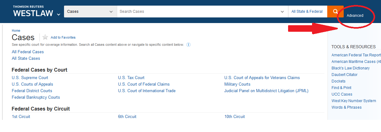 Westlaw: location of Advanced Search icon screenshot