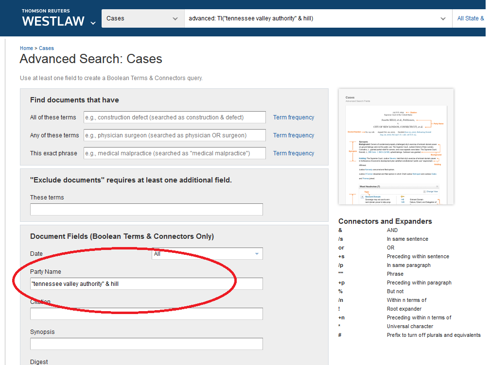 Westlaw: searching for party names screenshot