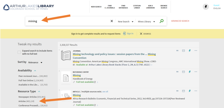 Search the Library Catalog for Articles