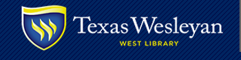 Texas Wesleyan West Library logo with shield