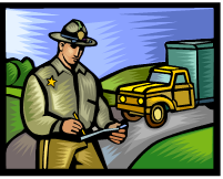 Cartoon image: police officer writing a traffic citation.
