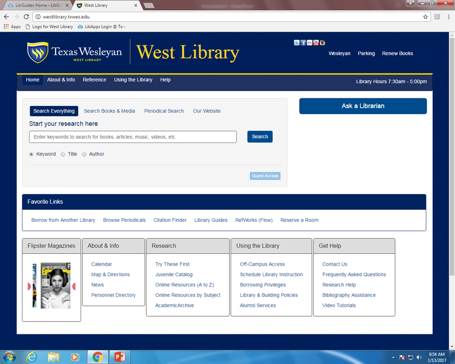 West Library Homepage